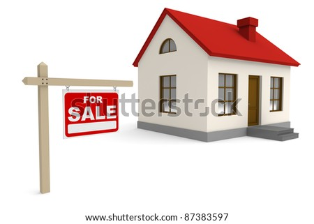 House for sale. 3d rendered image - stock photo