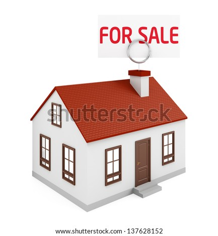 House for Sale on the white background - stock photo