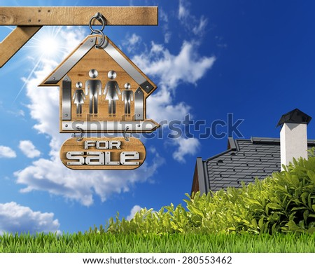 House For Sale Sign with Family. Sign in the shape of house with symbol of a family and text For sale. Real estate sign hanging from a chain on a pole on blue sky with roof, clouds and sun rays - stock photo