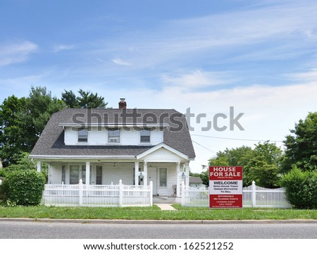 House For Sale White Picket Fence Suburban Home Residential Neighborhood Blue Sky Clouds USA - stock photo