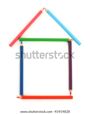 House from color pencils. Isolated on white background - stock photo