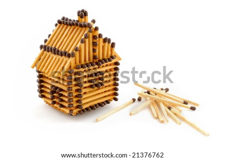 House from matches isolated on white