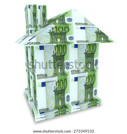 House from the money euro isolated on white - stock photo