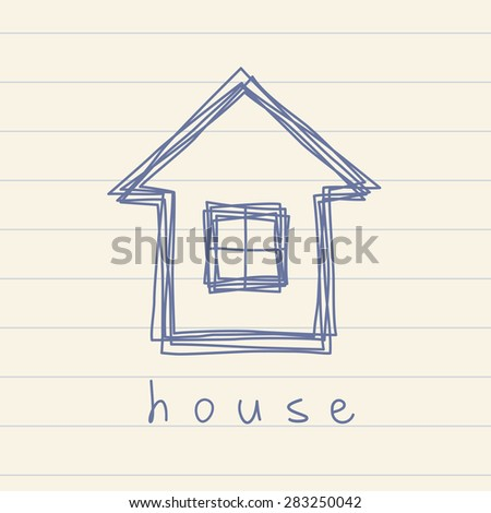 House icon. Doodle hand drawn sign of real estate.  Logo design template. Childish illustration for print, web - stock photo