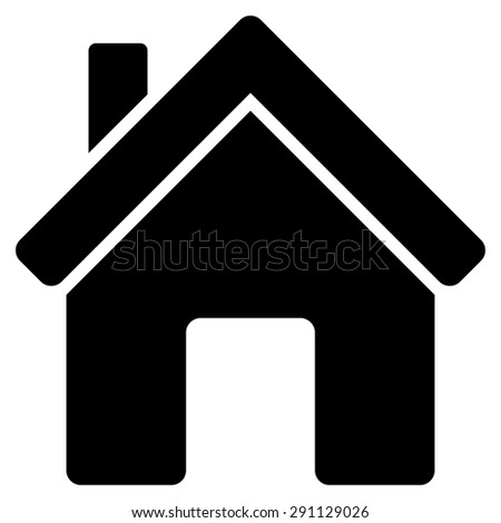 House icon from Commerce Set. Glyph style: flat symbol, black color, rounded angles, white background. - stock photo