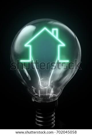 house icon lit inside light bulb stock photo edit now 702045058