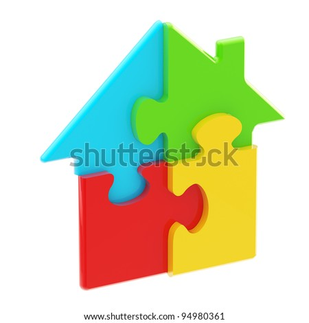 House icon made of colorful glossy puzzle pieces isolated on white
