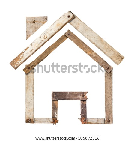 House icon made out of wood plank,  isolated on white background (Save Paths For design work) - stock photo