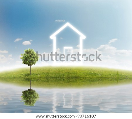 house icon on green grass meadow