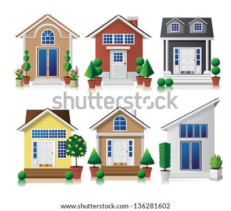 House icon set. jpg - stock photo
