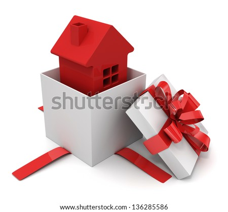House in a gift box - stock photo