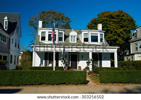 House in a residential neighborhood - stock photo
