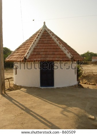 house in an indian village - stock photo