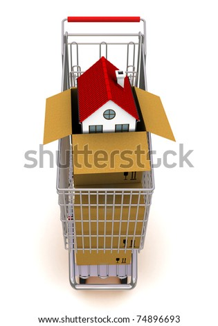 house in an open cardboard box, standing on trolley - stock photo