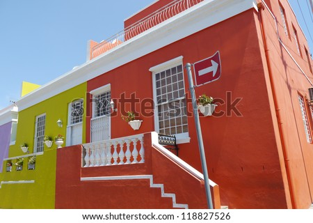 house in bo-kaap in cape town, south africa - stock photo
