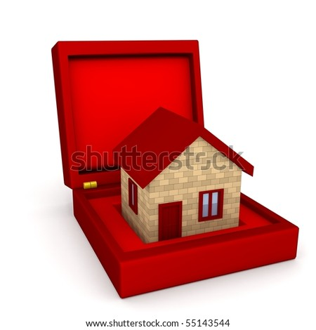 House in box over white. 3d rendered image - stock photo