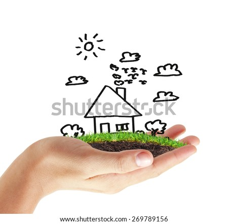 house in human hands,symbol - stock photo