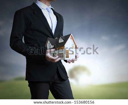 house in human the hands  - stock photo