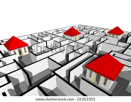 house in maze - stock photo