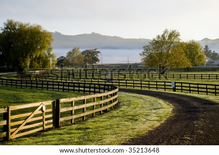 House in paddock with fog and sunrise - stock photo
