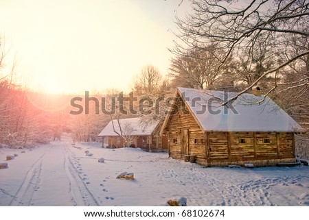 house in snow fairy forest - stock photo