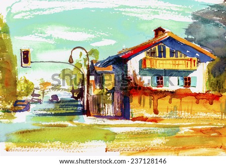 House in sunset watercolor illustration painting poster oil canvas acrylic background hand drawn
