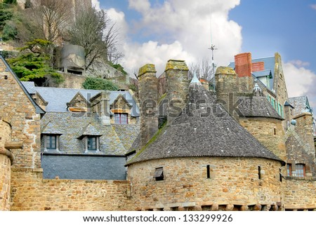 House in the abbey of Mont Saint Michel. Normandy, France - stock photo