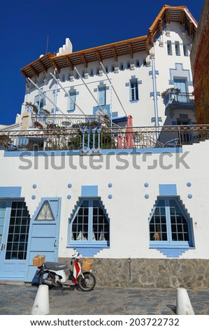House in the coastal village of Cadaques, Spain, Mediterranean, Costa Brava, Catalonia - stock photo
