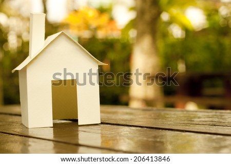 House in the garden In Spring - stock photo