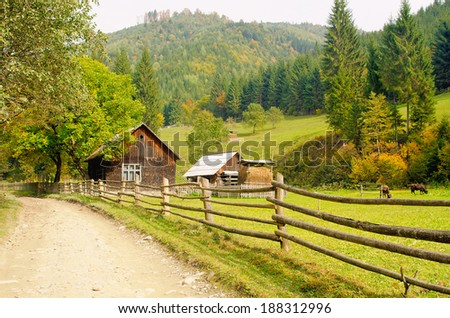 house in the mountains - stock photo