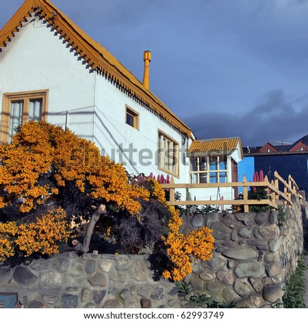 House in the village - stock photo