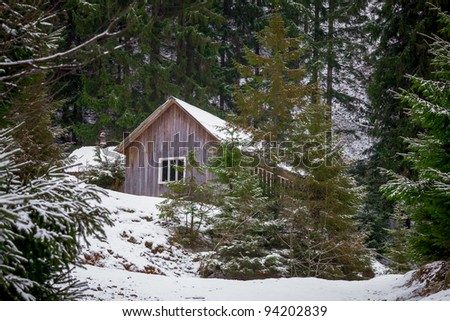 House in the winter forest, Carpathian Mountains, Ukraine