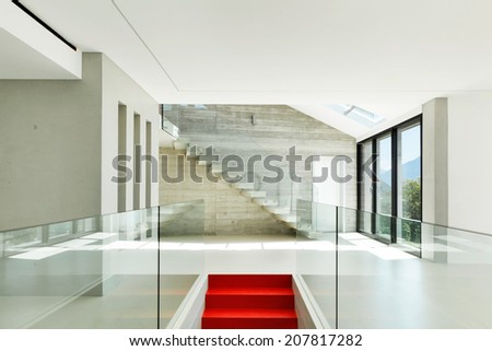 House, interior, modern architecture, staircase view - stock photo