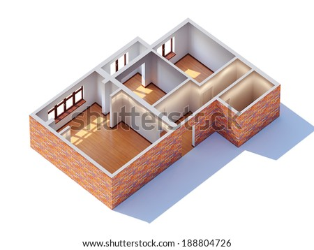 House interior planning (general aerial view) - stock photo
