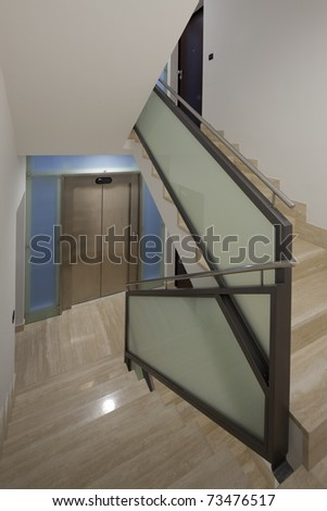 House interior with modern stairs - stock photo