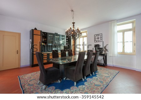 House interiors furnished, dining room - stock photo