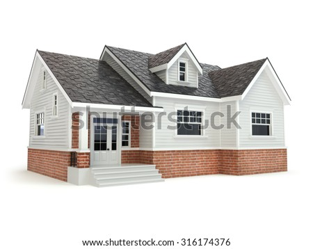 House isolated on white. Real estate concept. 3d - stock photo