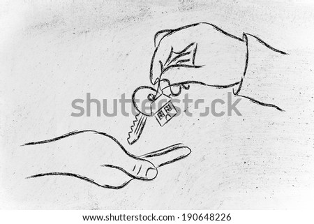 house key exchange, concept of buying or moving house - stock photo