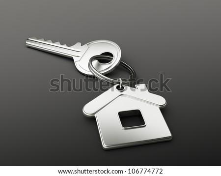 house key on black background - stock photo