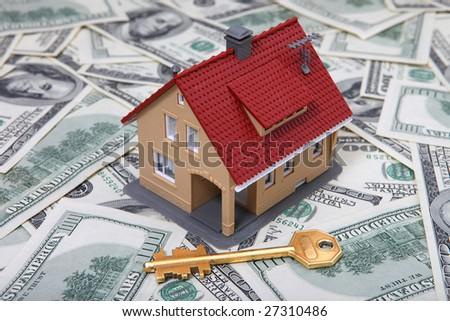 House & key on Money. See Portfolio For Similar Images - stock photo
