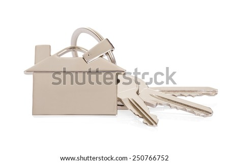 House Key With Keychain Over White Background - stock photo