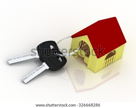 House key with shaped key-chain isolated on white background. Concept for owning, rental or buying a house, flat or apartment. - stock photo
