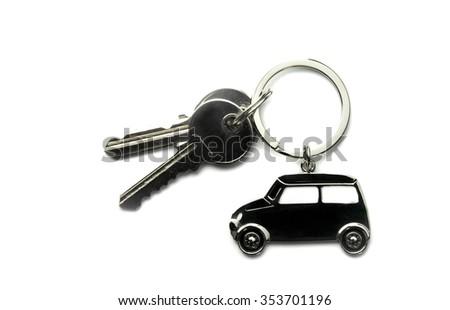 house keys and Keychain isolated on white  background - stock photo