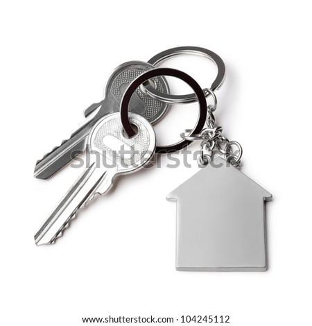 house keys and Keychain on white  background - stock photo