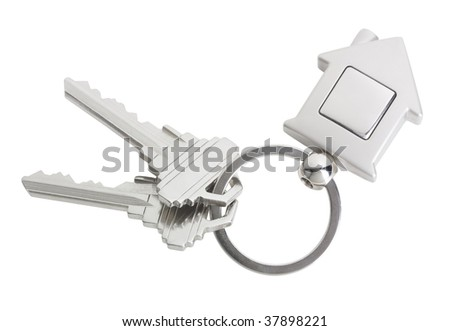 House keys with a blank keyring fob for your logo or graphic