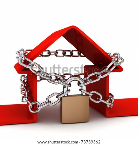 House locked with padlock on white background. Security concept. High quality 3D render. - stock photo