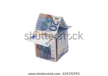 House Made From Twenty Euro Banknotes  - stock photo