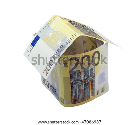 House made from two hundred euro banknotes over white - stock photo