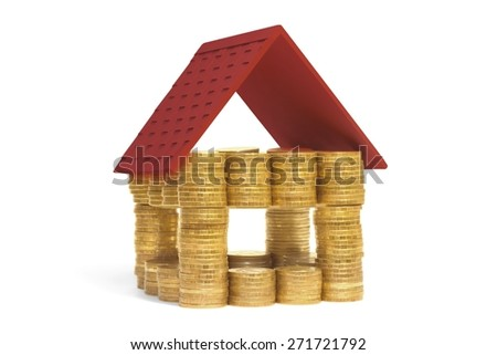 house made of coins - stock photo