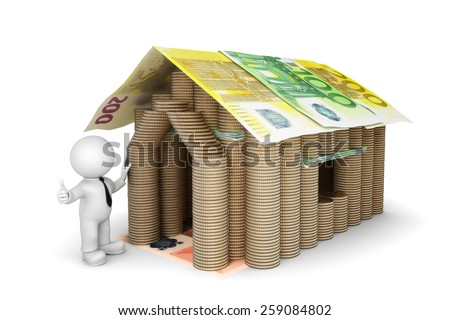 House made of coins and bills - stock photo